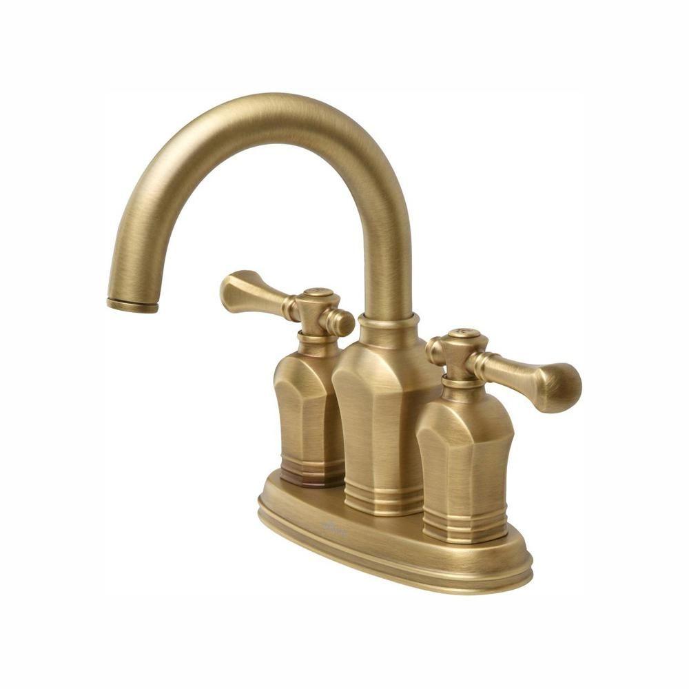 Glacier Bay Verdanza 4 In Centerset 2 Handle High Arc Bathroom Faucet In Antique Brass Hd67113w 8024h The Home Depot Brass Bathroom Fixtures Antique Brass Faucet Antique Brass Bathroom Faucet