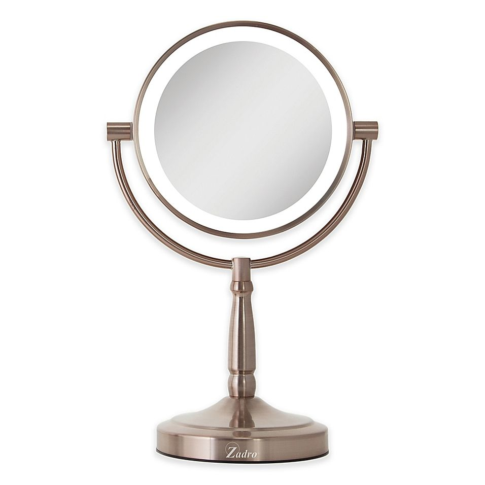 Zadro 10x 1x Cordless Led Lighted Vanity Mirror In Rose Gold In