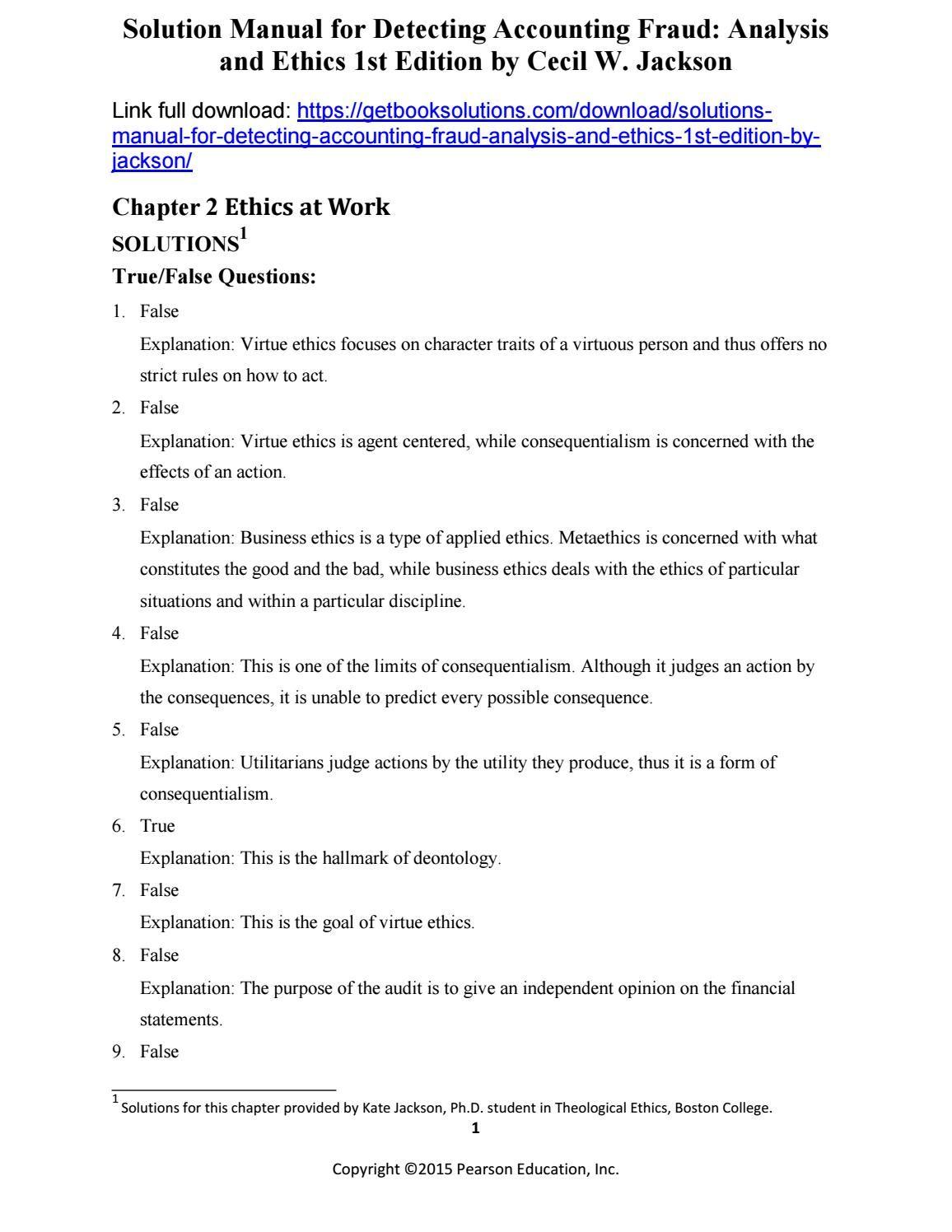 Solutions manual detecting accounting fraud analysis ethics 1st edition  jackson