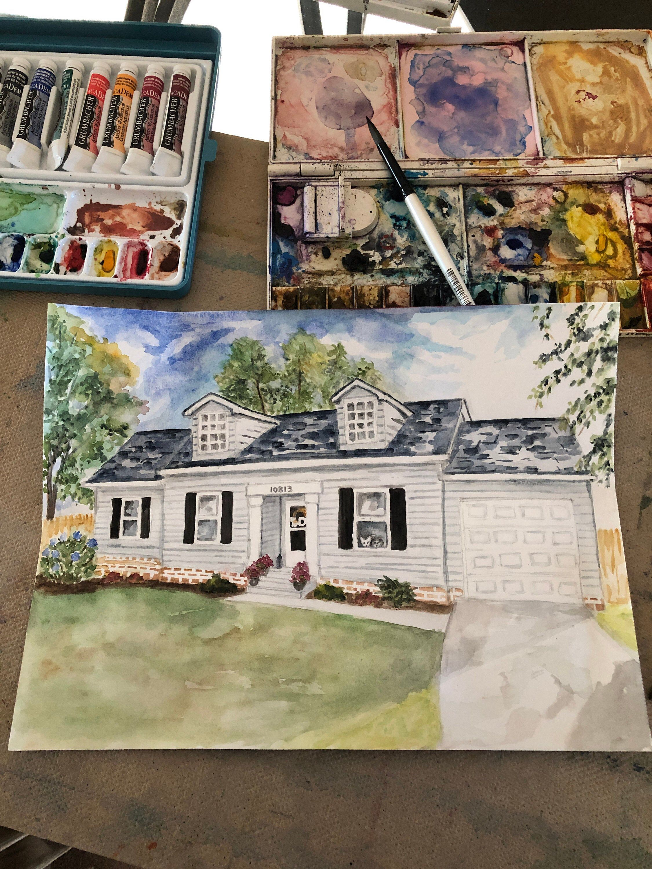 Custom home watercolor painting house portrait hand