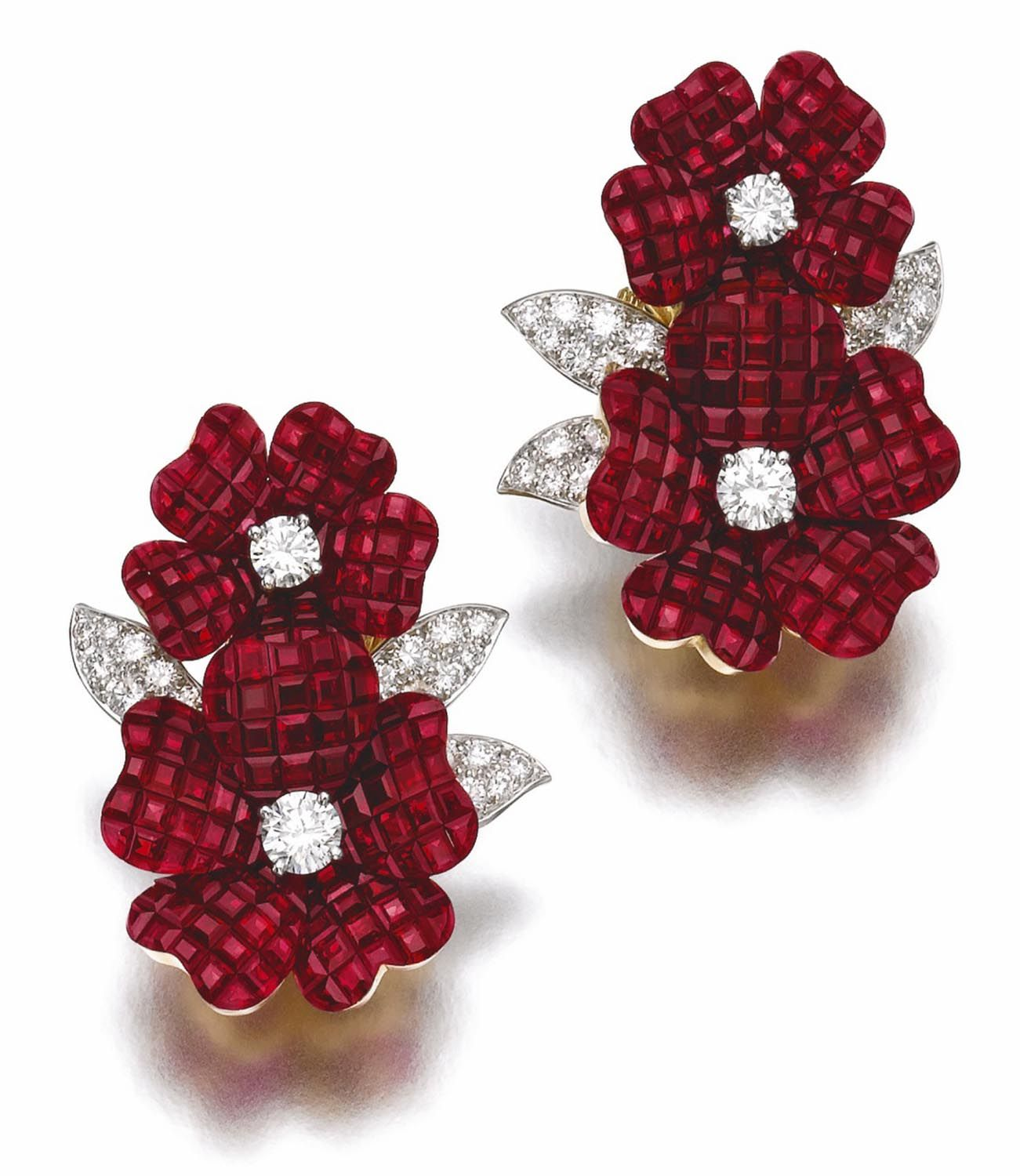 Pair Of Ruby And Diamond Ear Clips, 'pergola Royale', Van Cleef &