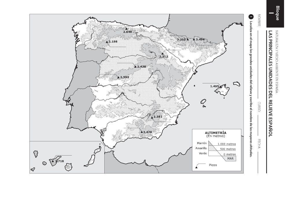Mapas De España Físicos Políticos Y Mudos Mapa De España Mapa Fisico De España Rios De España