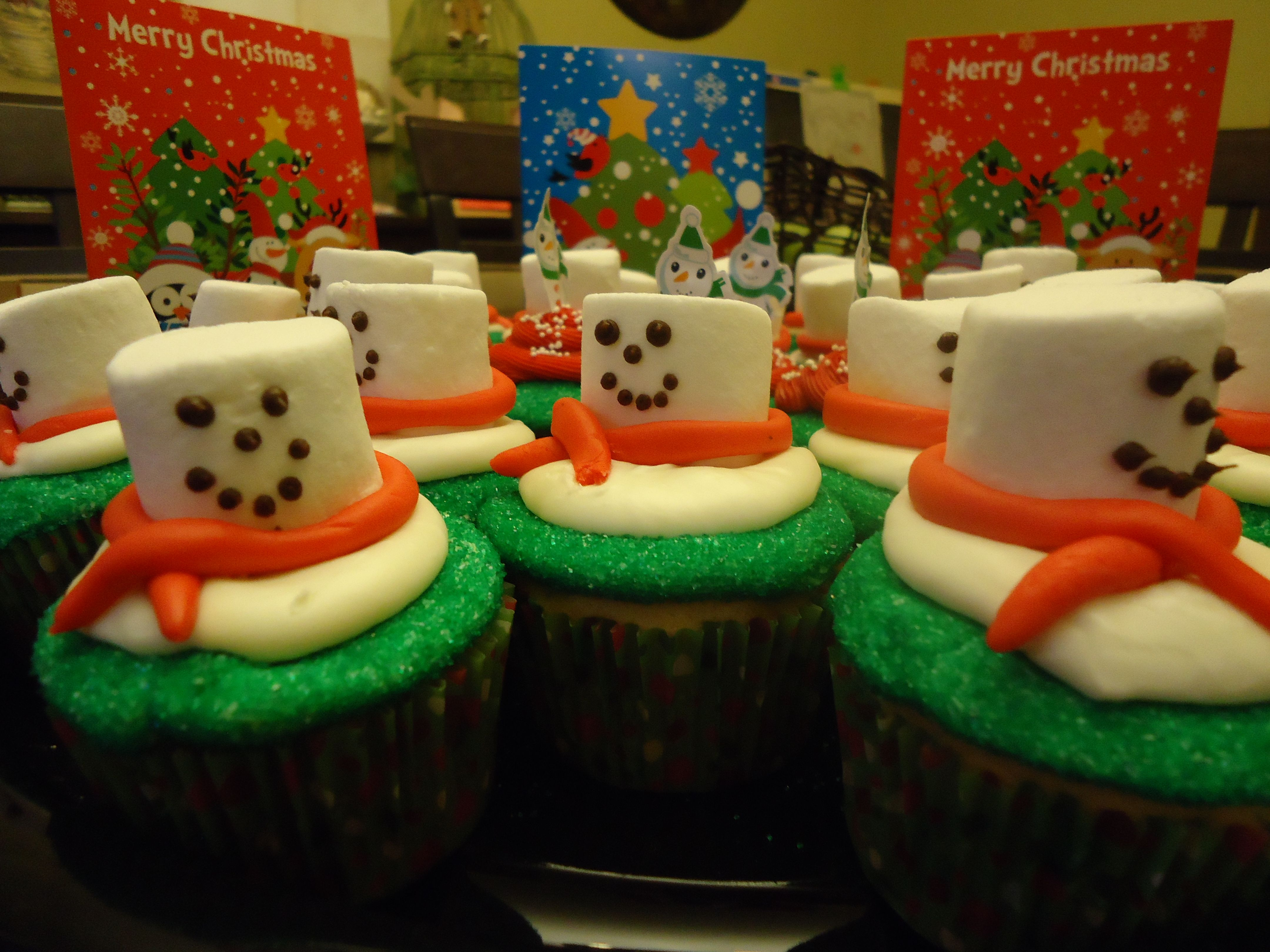 Melting snowman cupcakes - cupcakes I made for my daughter's preschool Christmas party