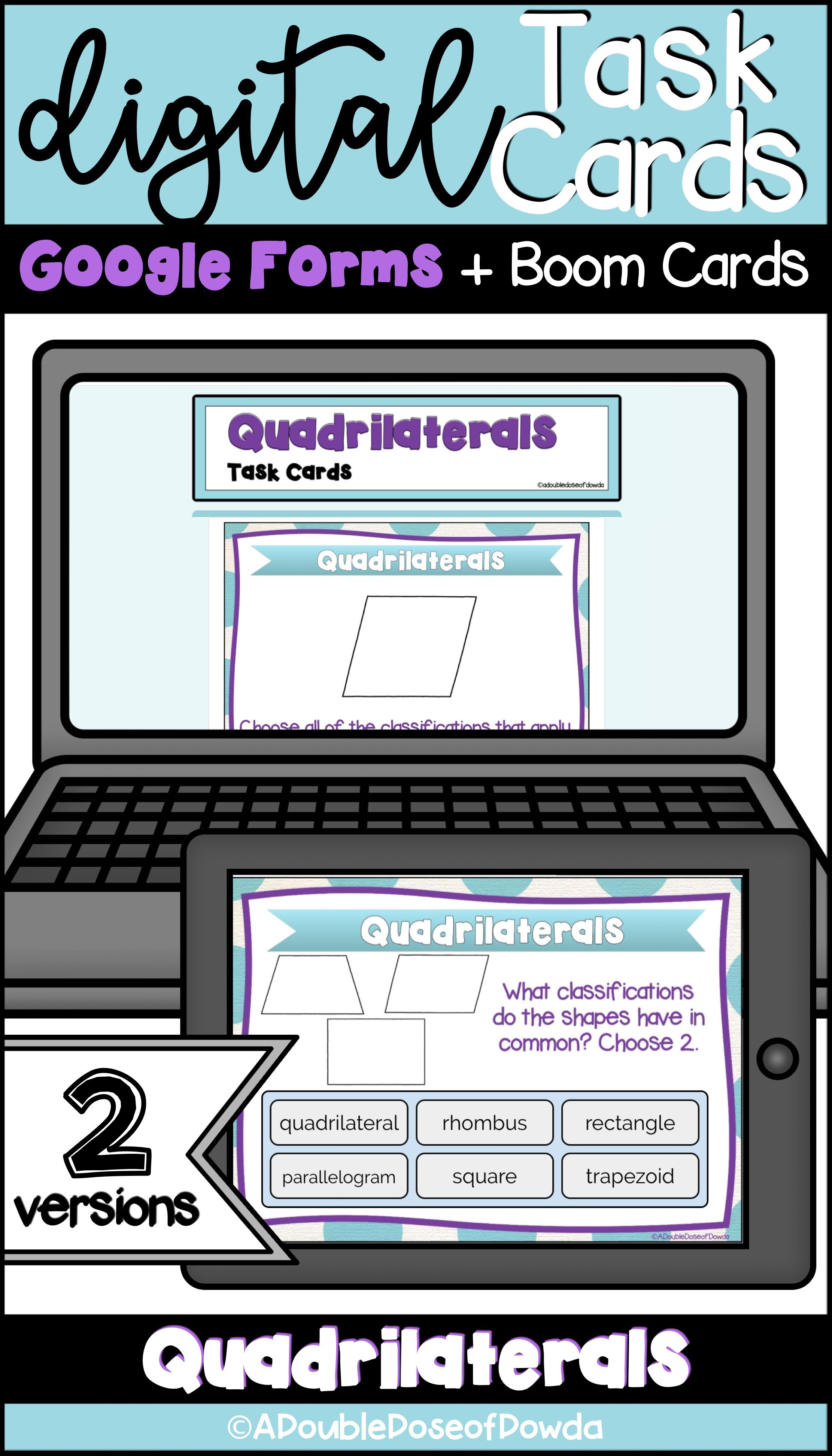 Self Grading Quadrilaterals Task Cards For
