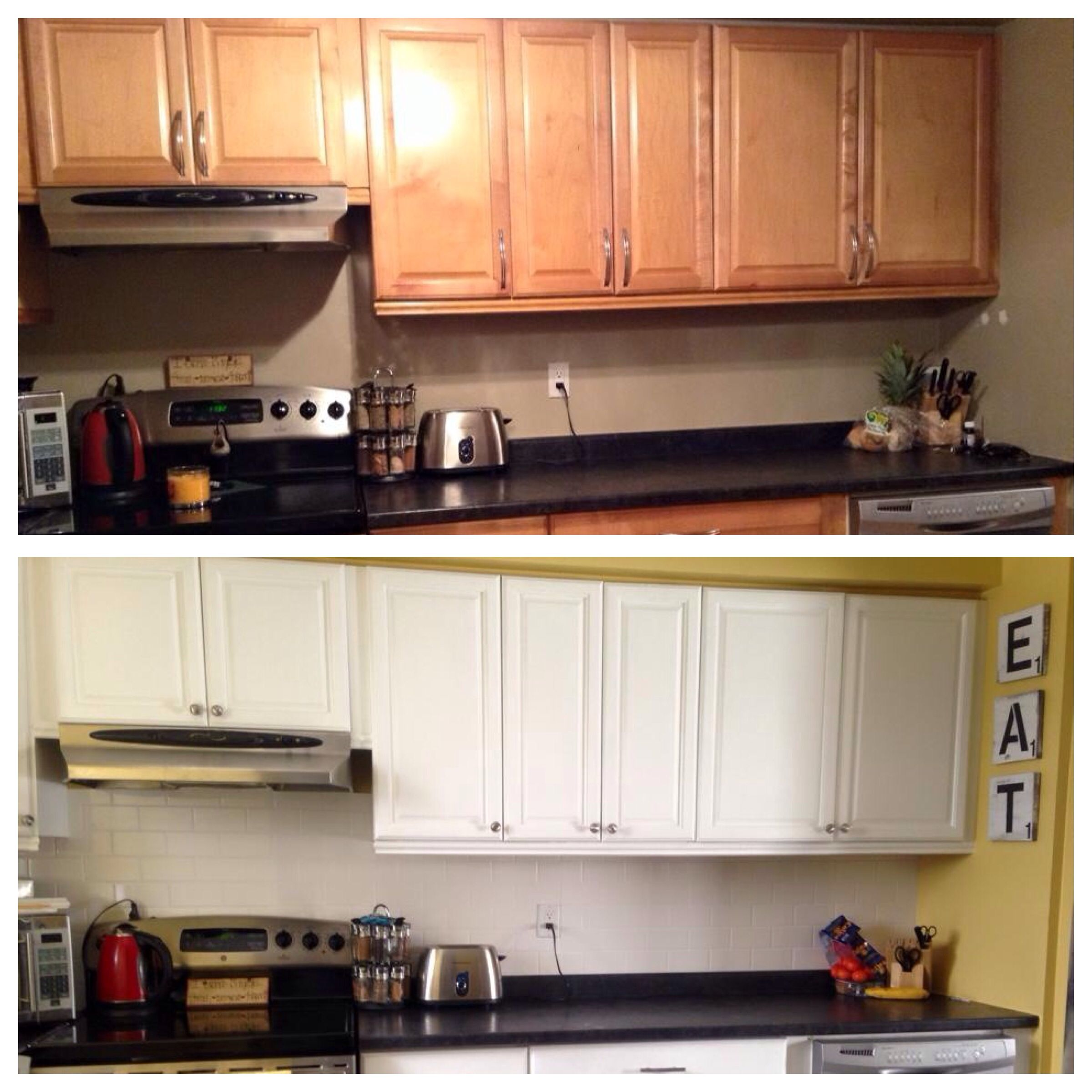Kitchen cabinets done with Annie Sloan Chalk Paint in pure ...