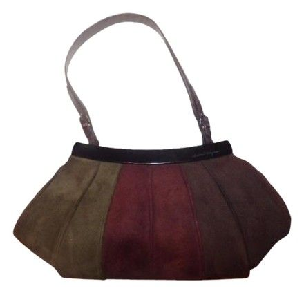 Salvatore Ferragamo 1960 s Mod Look Chrome Hardware Ruched Pleated Suede  Perfect Fall Colors Satchel in 63980108667af
