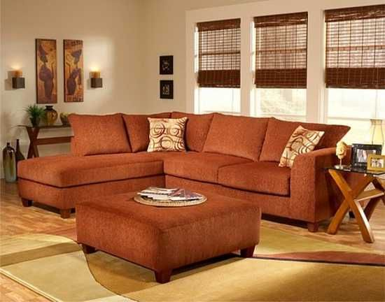 Terracotta orange colors and matching interior design for Ecksofa terracotta