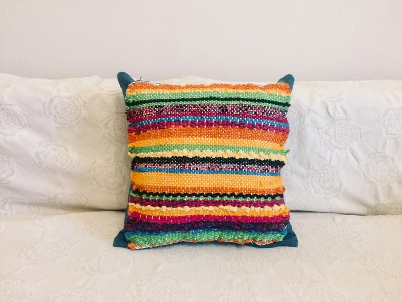 Items similar to Striped Colorful Handwoven Decorative Pillow Cover, Bright Boho Hippie Cushion Cover, Pillow Cover on Etsy