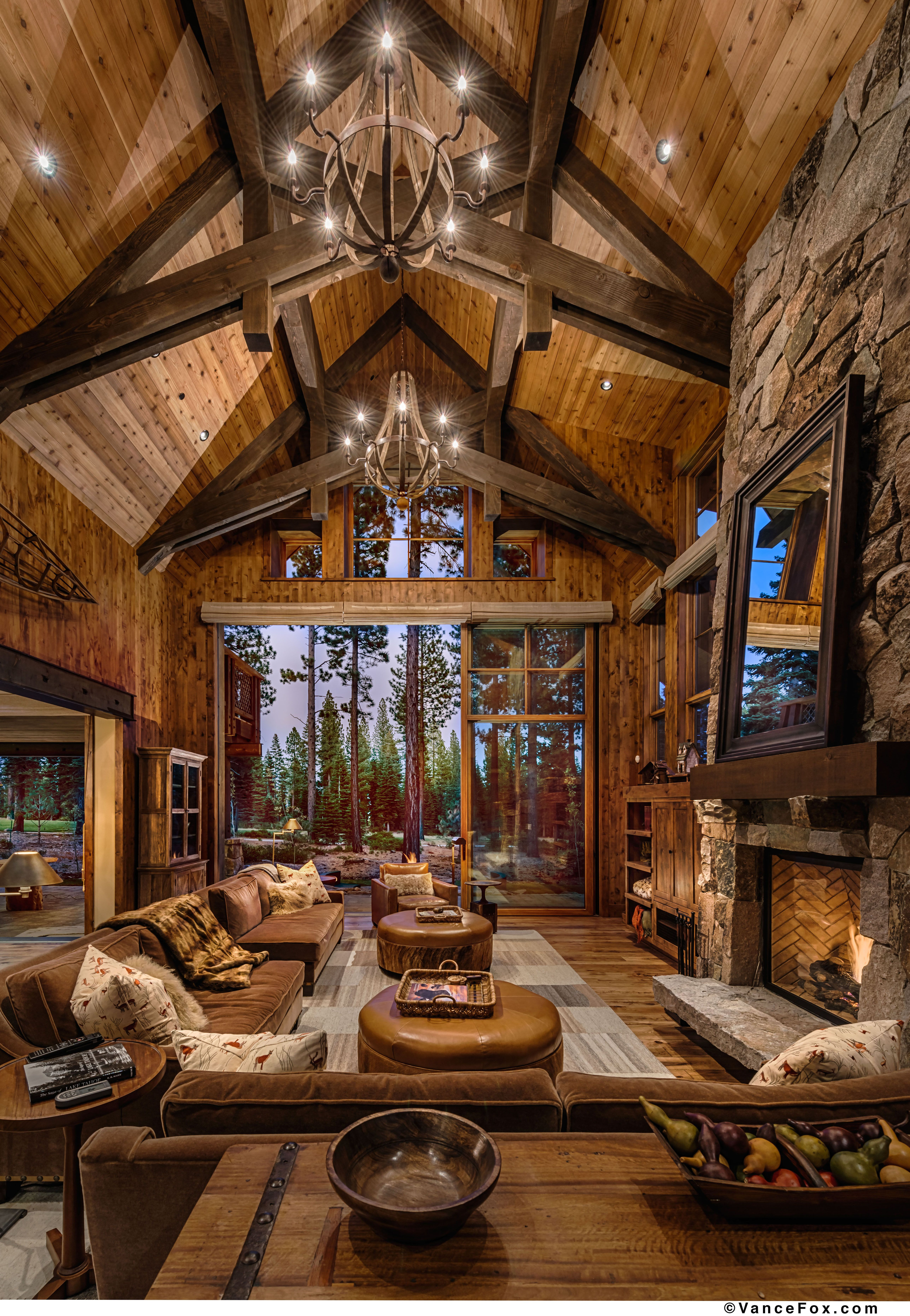 stunning log cabin living room | This great room is the epitome of mountain living and ...