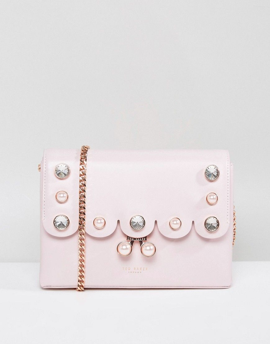 b25fb1350 TED BAKER CROSSBODY BAG WITH SCALLOPED PEARL DETAIL - PINK.  tedbaker  bags   shoulder bags  leather  crossbody  crystal