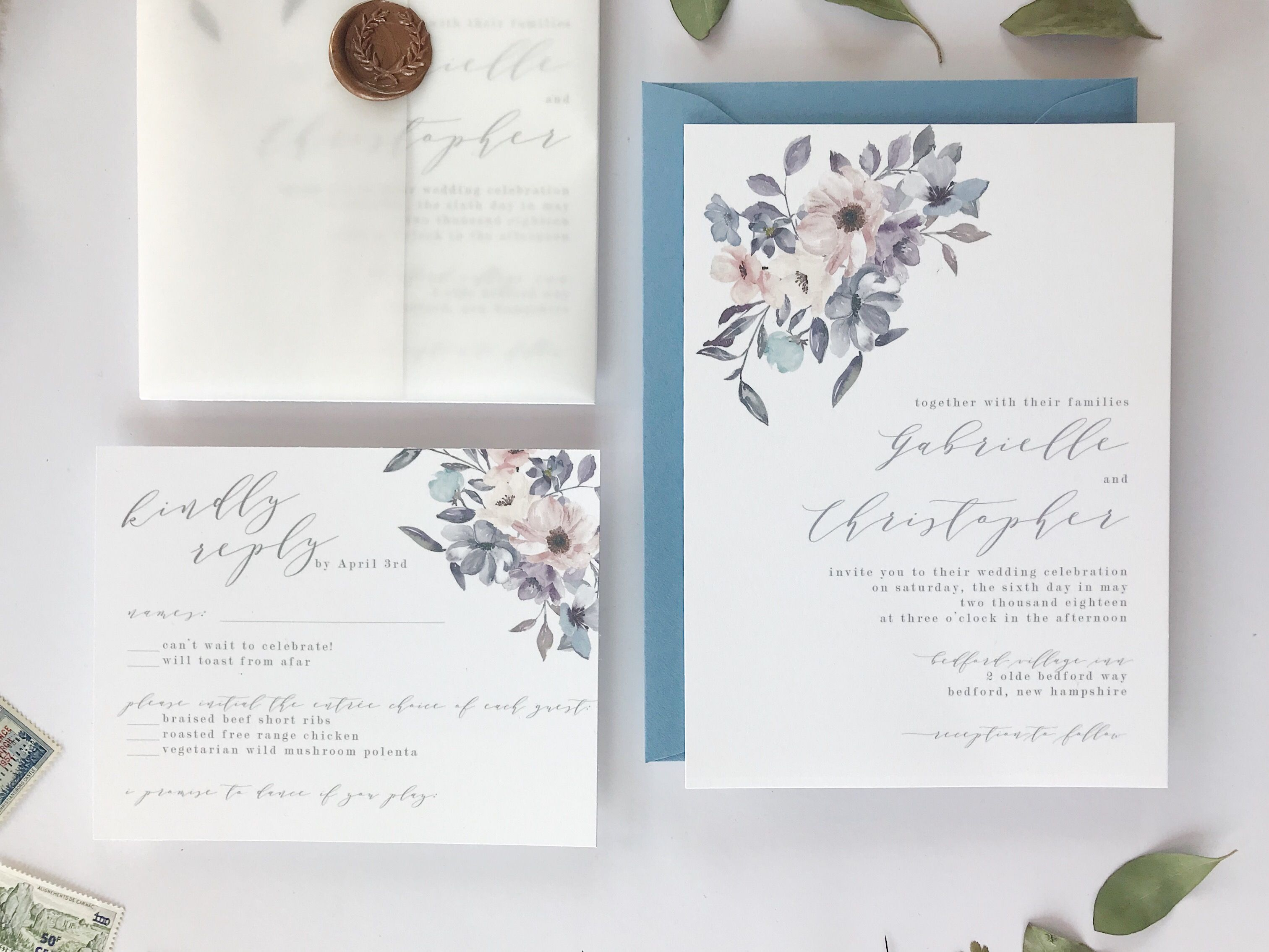 Dusty Blue and Lavender Wedding Invitations by Unica Forma ...