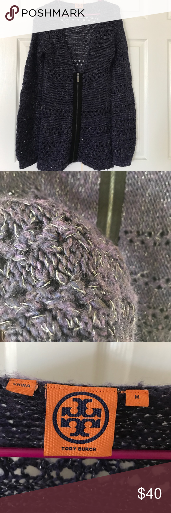Tory Burch purple cardigan sweater Preloved.  Long style. Color is purple .. 47% wool 45% acrylic 6% acetate 1% metallic 1% nylon.. fits like M/L Tory Burch Sweaters Cardigans