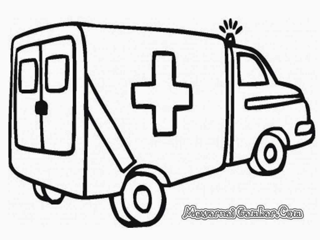 Mewarnai Gambar Mobil Ambulance