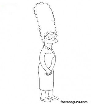 Printable Marge Simpson Coloring Page Printable Coloring Pages For Kids Easy Cartoon Drawings Simpsons Drawings Disney Art Drawings