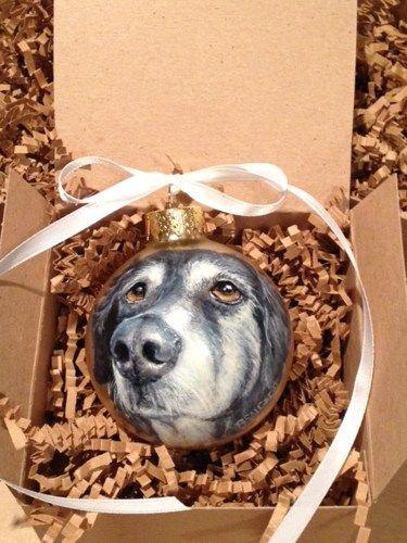 Custom Pet Christmas Ornament Animal Dog Cat Portrait on Ball RSalcedo | smellyrhinostudio - Pets on ArtFire