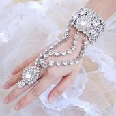 Photo of Clear Tear Drop Bridal Bracelet Ring Set Crystal Bangle  Gold & Silver Plated Cl…