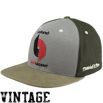 afff0bc83e7 Mitchell   Ness Portland Trail Blazers Clay Adjustable Snapback Hat -  Graphite Charcoal