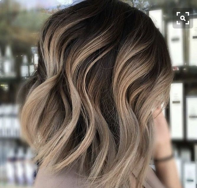 Brown Hair With Blonde Head Of Highlights Short Medium Haircut