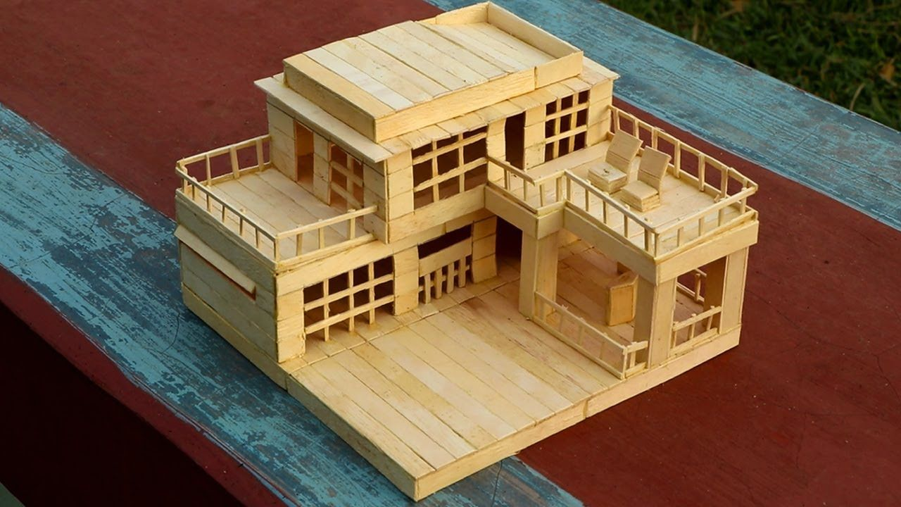 How to Make a Modern Popsicle Sticks House #popciclesticks