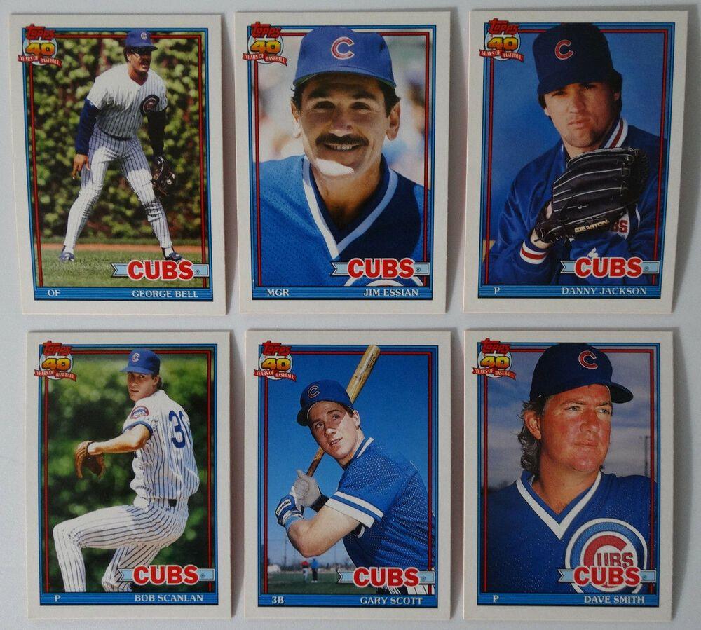 1991 topps traded chicago cubs team set of 6 baseball