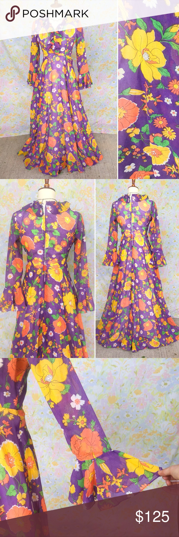 Sold Vintage 70s Psychedelic Floral Maxi Dress Floral Maxi Dress Dresses Vintage Dresses [ 1740 x 580 Pixel ]
