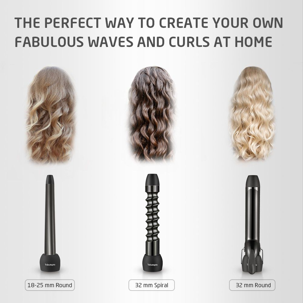 3 In 1 Curling Iron And Wand Sets Tra Sutopia Ceramic Barrel Hair Curler With Cool Tip 1 25 Inch Spiral 1 25 Inc Wand Curls 1 Inch Curling Wand Curling Iron