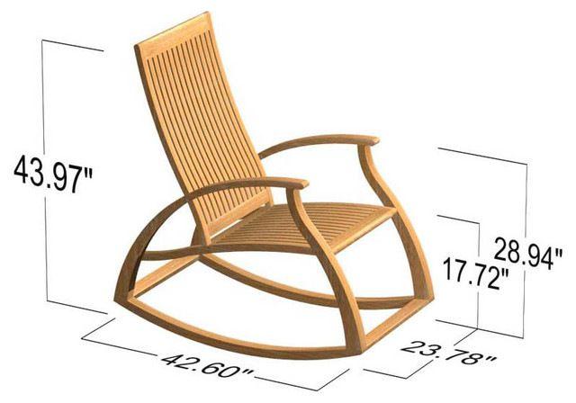 Aria Modern Contemporary Luxury Teak Rocking Chair Modern Rocking