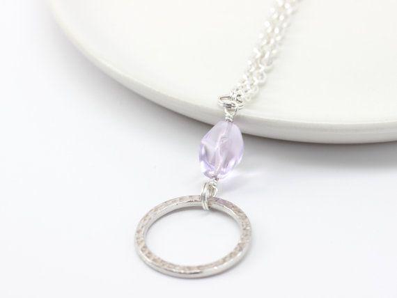 Lazo de vasos de plata con amatista púrpura  gafas cuello
