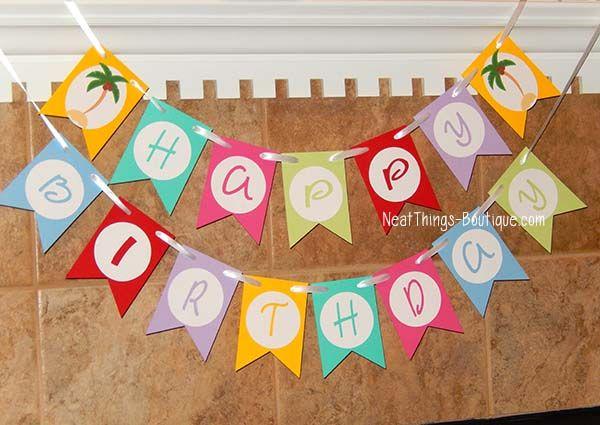 Palm Tree Happy Birthday Banner Beach Custom Happy Birthday