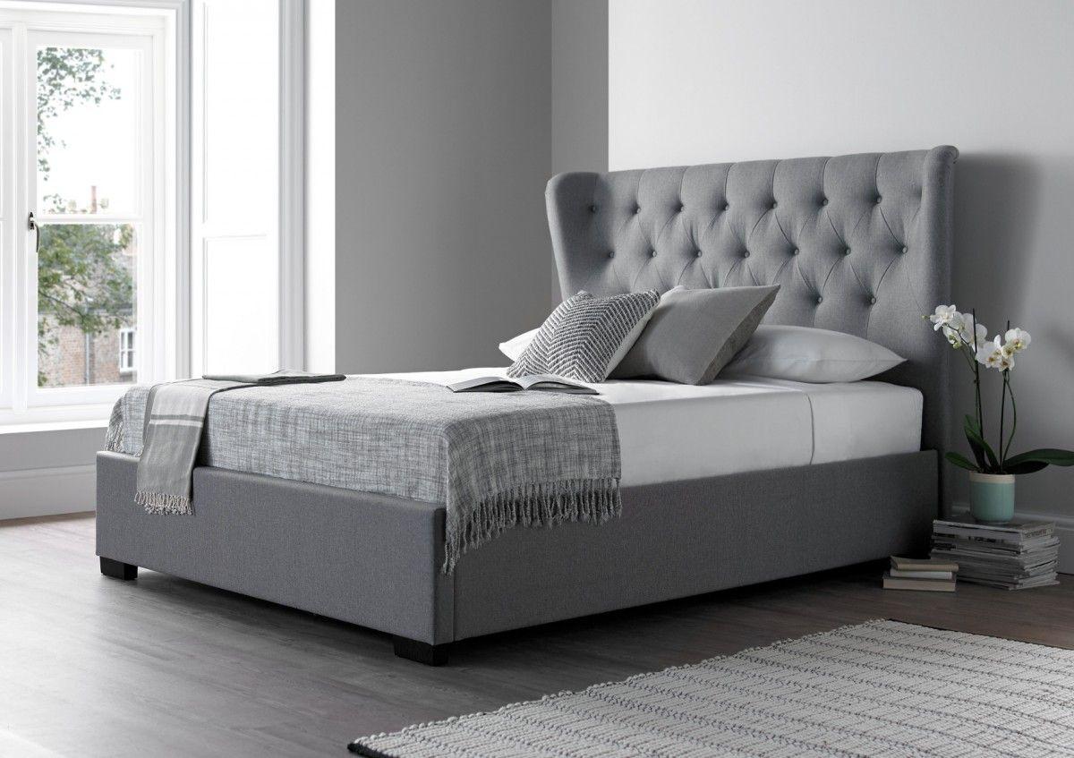Salerno Cool Grey Upholstered Bed Frame Grey Upholstered Bed
