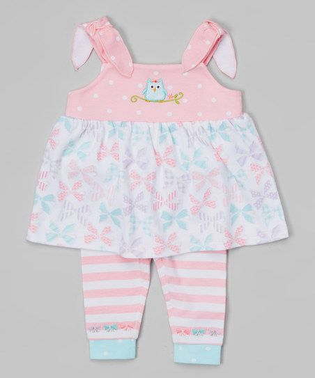 Happi by Dena Pink Bow Owl Tie-Strap Tank & Leggings - Infant | zulily