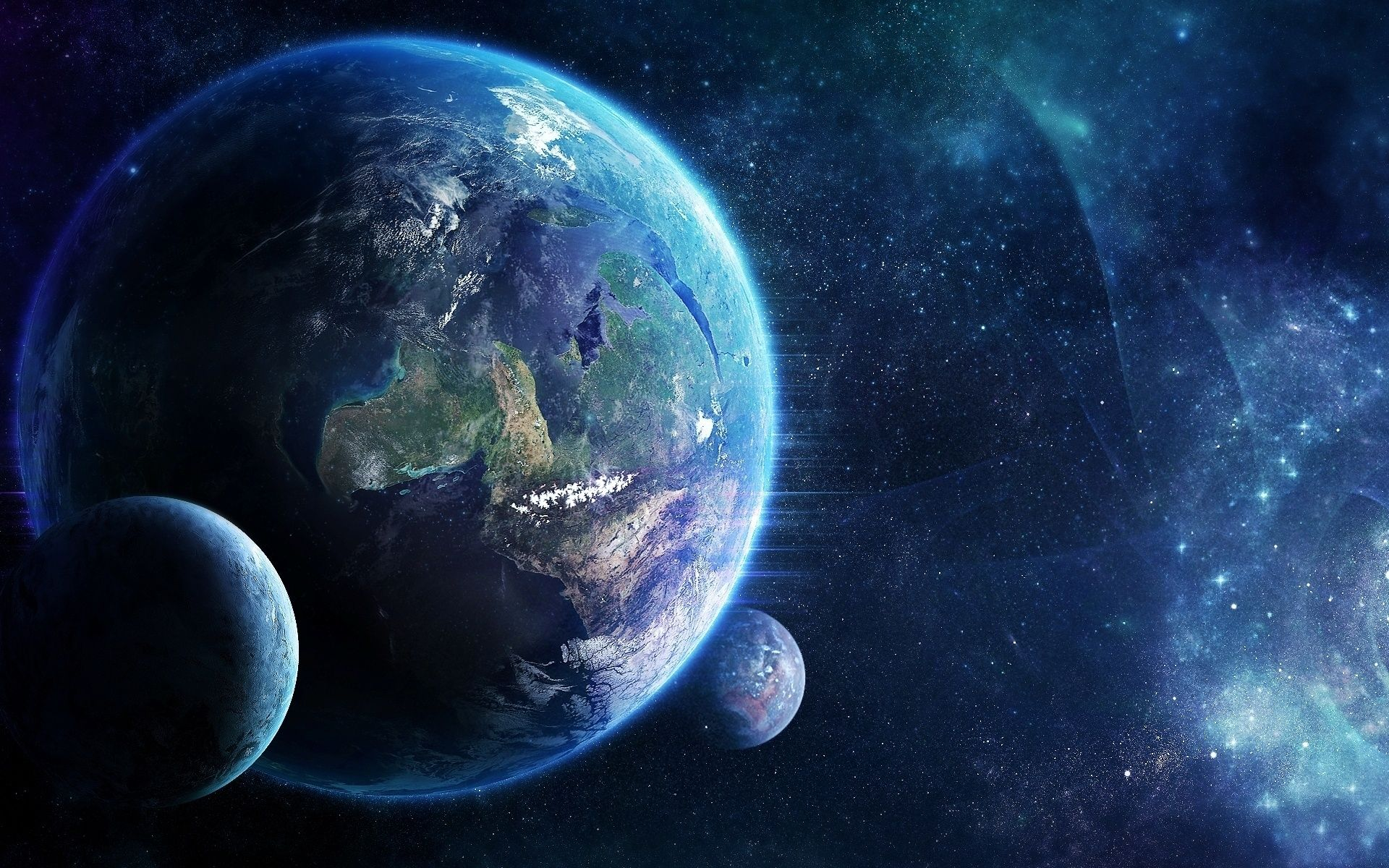 Earth Moving In Space With Small Planets Photo And Desktop Wallpaper Planets Wallpaper Space Desktop Backgrounds Galaxy Wallpaper