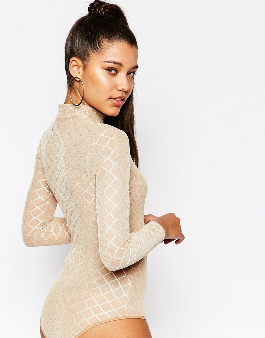 Image 2 of NaaNaa Mesh High Neck Bodysuit