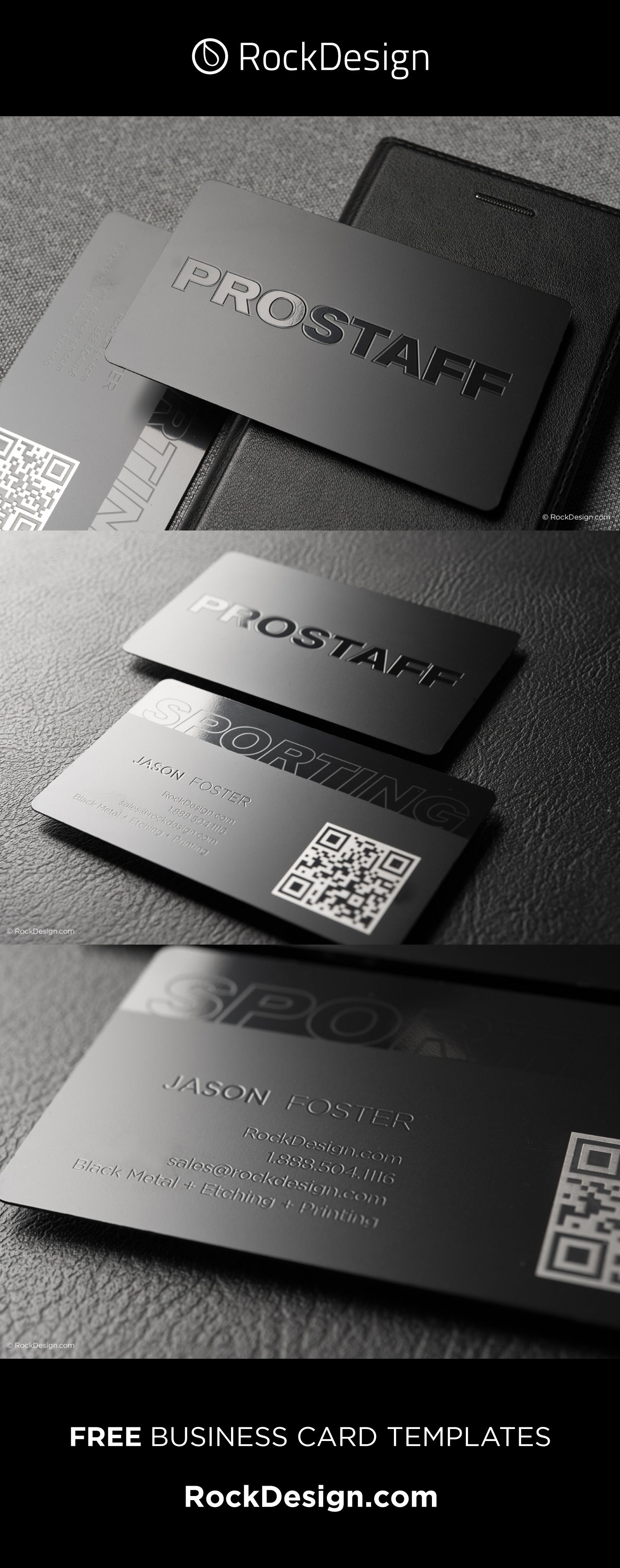 Stylish Black Metal Business Card Template Prostaff Metal Business Cards Business Card Design Black Business Card Design