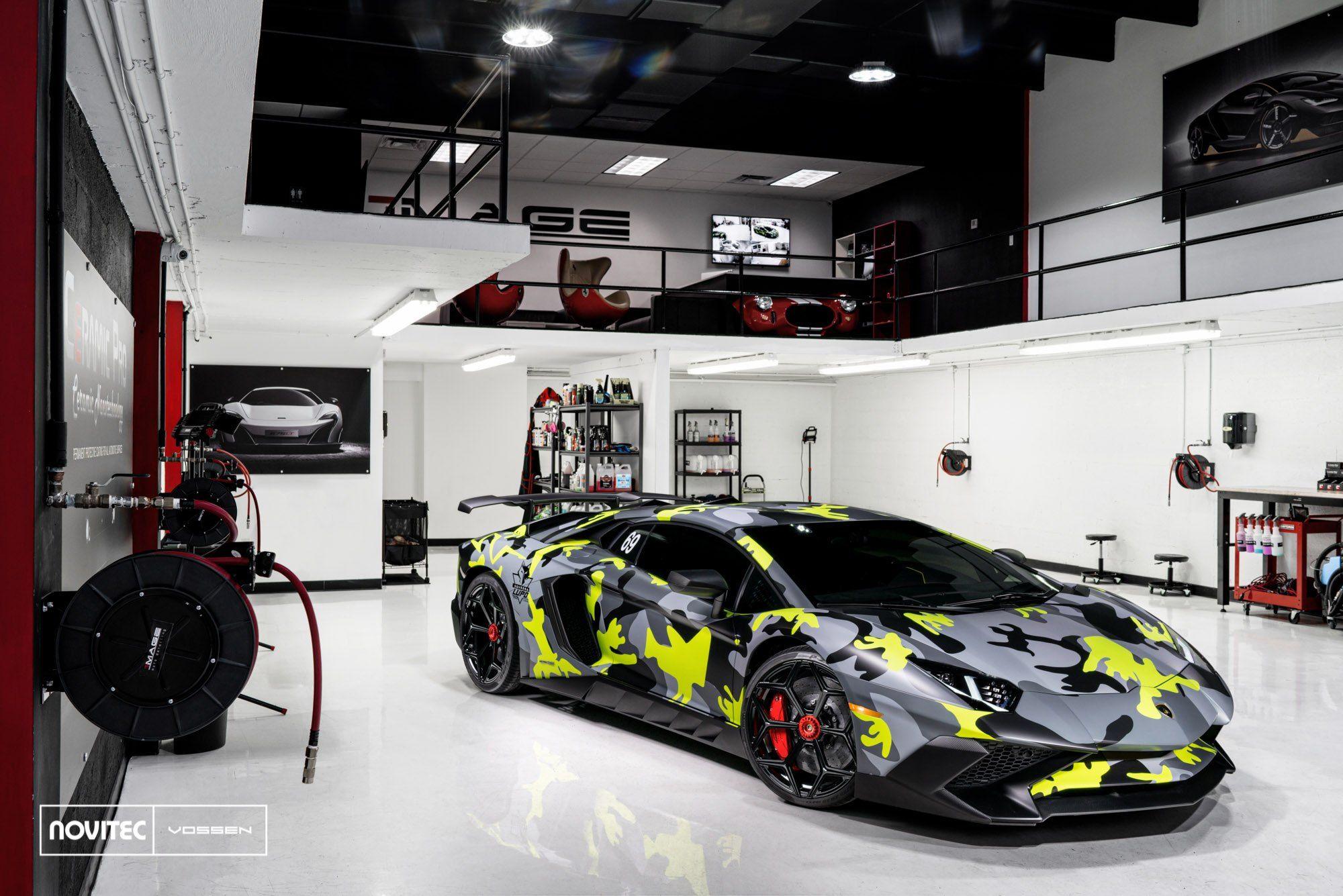 Toxic Camo Wrapped Lamborghini Aventador On The Showroom Floor By Vossen Car Showroom Interior Car Mechanics Garage Lamborghini Aventador