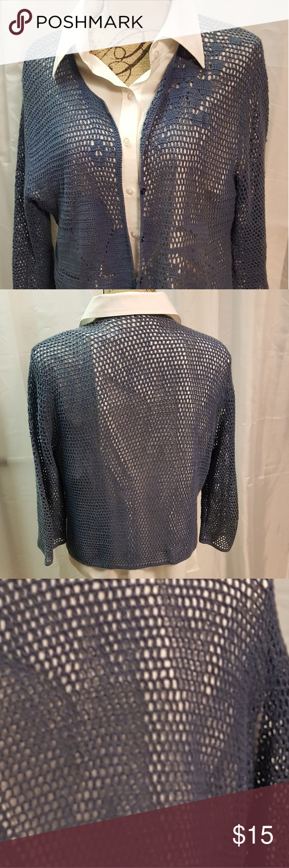 *NEW LISTING* Knitted Cover Up Sweater Open knit, Waist length @ 20 inches from seam to shoulder with 3/4 sleeves @17 inchs. Similar to Slate blue. 100% Cotton,  lightweight, small buttons so it can be worn closed or open. Wonderful to pull on over a sleeveless top for a sunset supper. Sweaters Cardigans