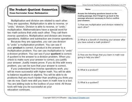 The Product Quotient Connection 3rd Grade Reading Comprehension Worksheet Free Reading Comprehension Worksheets 3rd Grade Reading Comprehension Worksheets Reading Comprehension Worksheets Third Grade