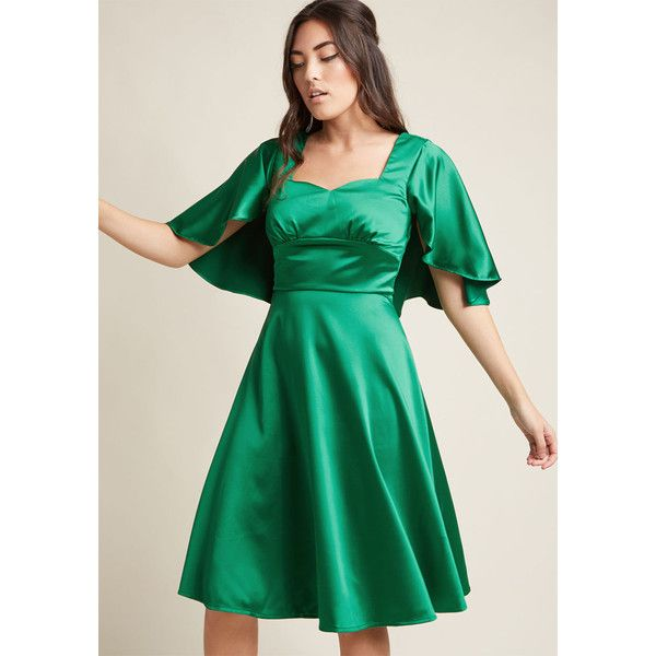 Satin midi dress green