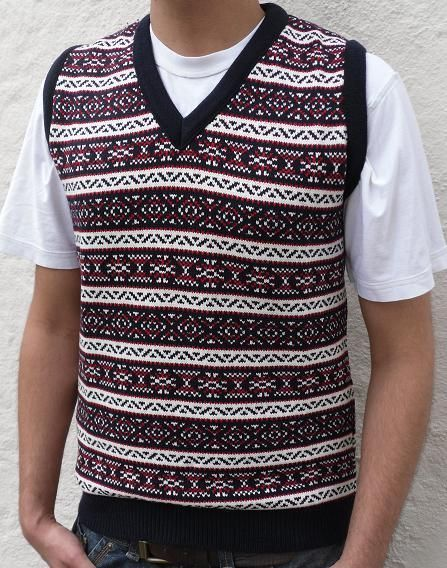 Mens Knitted Vest Sleeveless Aztec Vintage Jumper Tanktop Tank Top