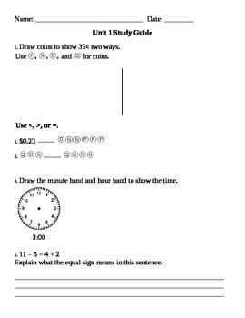 Everyday Math Grade 3 Unit 1 And 2 Study Guides Everyday Math Studying Math Math Study Guide