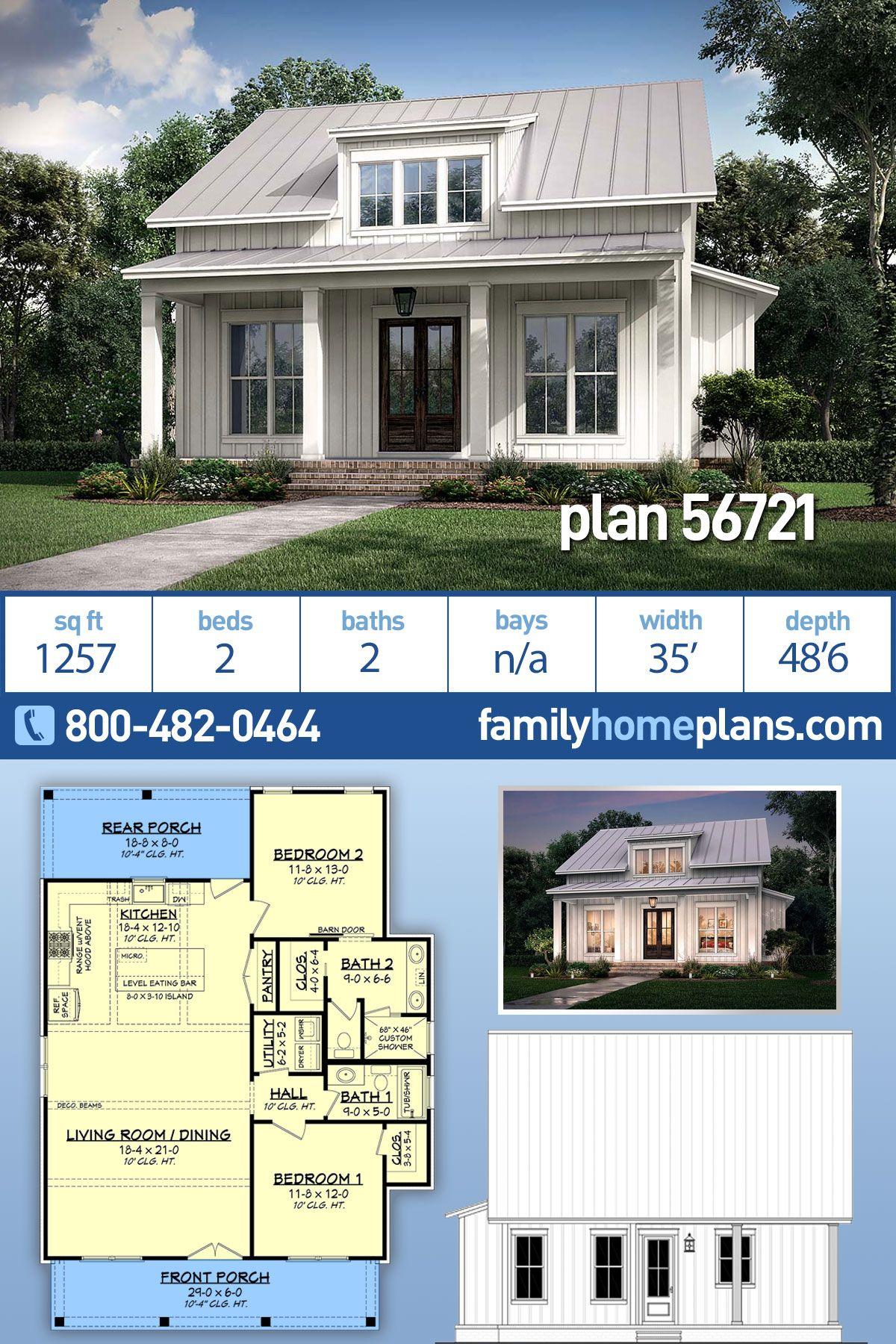 Farmhouse Style House Plan 56721 With 2 Bed 2 Bath Farmhouse Style House Plans Farmhouse Style House House Plans Farmhouse