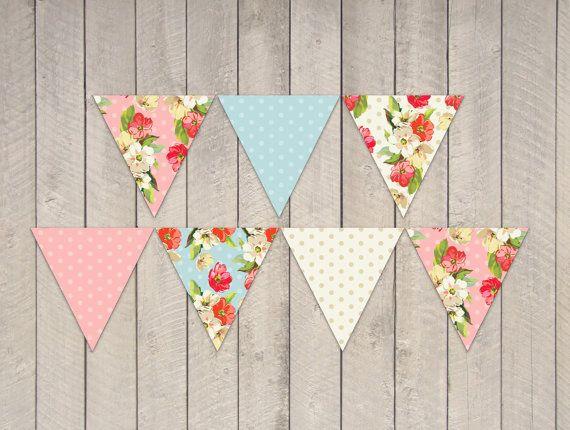 Instant Download - Garden Tea Party Bunting Banner Flags ...