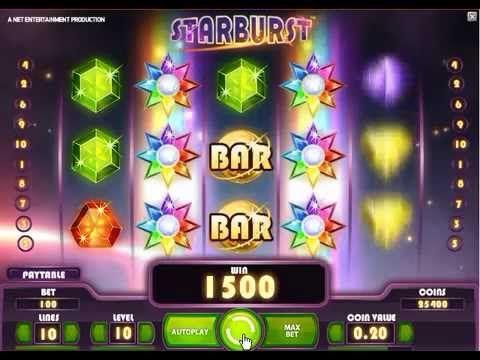 Starburst on NetEntin kehittämä hedelmäpeli jossa on 10 voittolinjaa jotka toimivat molempiin suuntiin ja jossa maksimipanos on 100€.