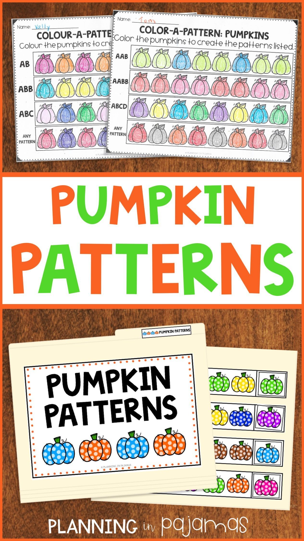Pumpkin Pattern Activities To Include In A Fall Autumn Or Halloween Theme 2 Worksheets Asking Students To Pumpkin Pattern Pattern Activities File Folder Games [ 2249 x 1265 Pixel ]