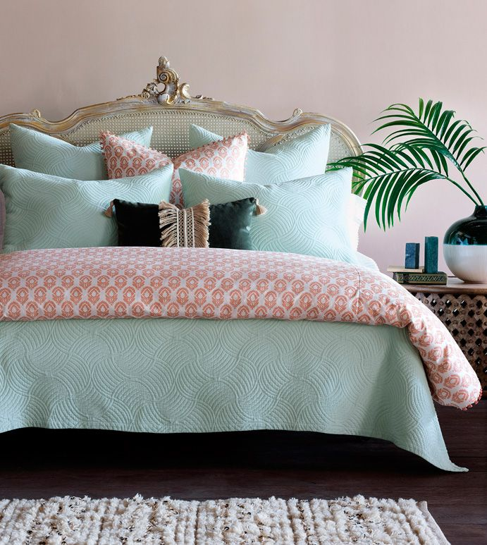 Mint punch botanical print duvet cover and comforter
