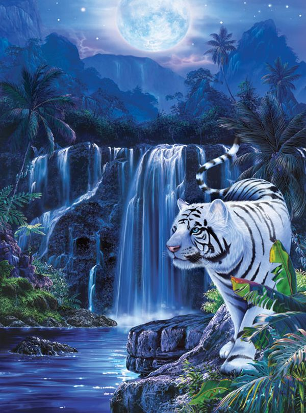 christian riese lassen art white tiger paradise wyland nelson lassen and schimmel. Black Bedroom Furniture Sets. Home Design Ideas