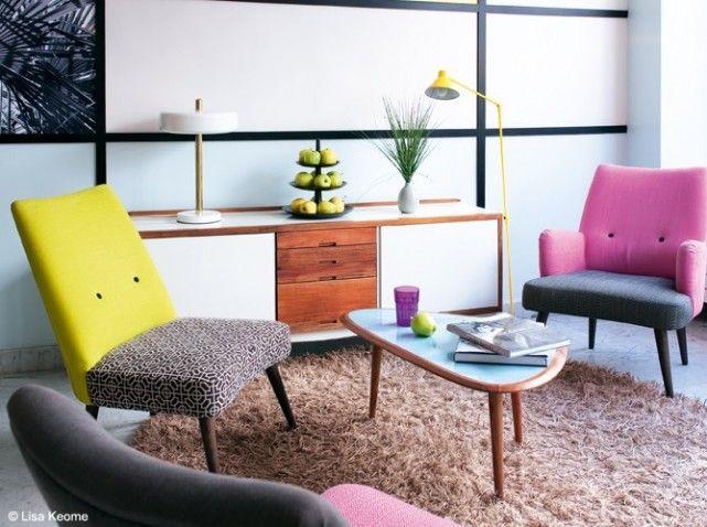 un salon style ann es 50 c 39 est top tendance elle d coration deco pinterest d co ann e. Black Bedroom Furniture Sets. Home Design Ideas