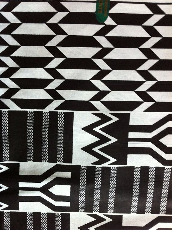 Black And White Kente Cloth Graphic Abstract Print Fabric