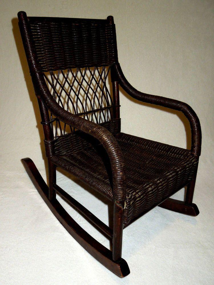 1920s rocking chair homedics massager antique wicker vintage child s mid 1920 rocker