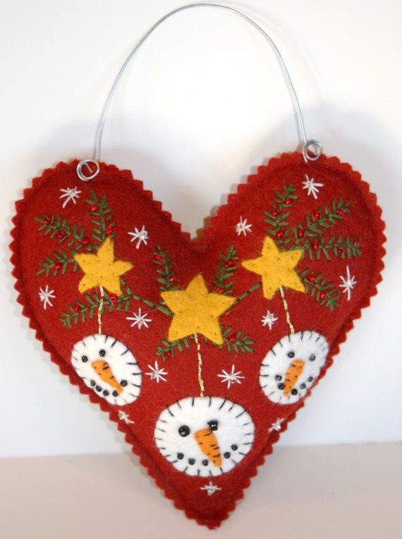 Heart/Snowman felt ornament. I'd like to make a large one to hang on the front door next Christmas. So cute!